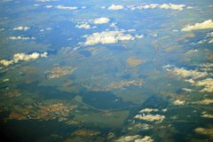 Aerial view of the earth from the airplane Royalty Free Stock Photos