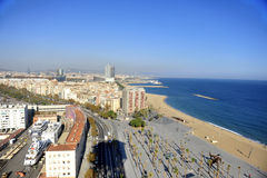 Aerial View of East Barcelona, Spain Coast Line Stock Photo