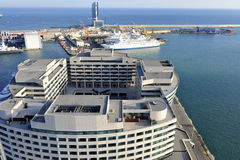 Aerial View of East Barcelona, Spain Coast Line Royalty Free Stock Images