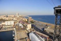 Aerial View of East Barcelona, Spain Coast Line Stock Photos