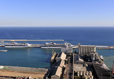Aerial View of East Barcelona, Spain Coast Line Stock Image