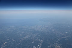 Aerial view east coast north America from airplane Stock Photo