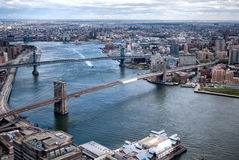 Aerial view East River, Manhattan, Bronx, and Queens Stock Photo