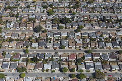 Aerial View of East San Francisco Bay Homes. Aerial view of rows of middle class homes near San Leandro and Oakland, California Stock Photos