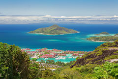 Aerial view of Eden island, Mahe, Seychelles Stock Photo