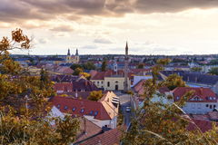 Aerial view of Eger city, Hungary. Aerial view of Eger city with the Kethuda minaret, Hungary royalty free stock photos