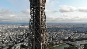 Aerial View of Eiffel Tower Attraction, Paris tower landscape. eiffel shot by drone