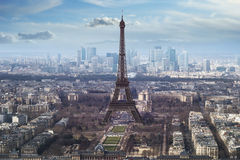 Aerial view of eiffel tower Stock Images
