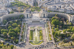 Aerial view from Eiffel Tower on Champ de Mars - Paris. Stock Photo