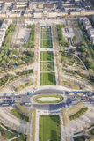 Aerial view from Eiffel Tower on Champ de Mars - Paris. Royalty Free Stock Image