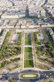 Aerial view from Eiffel Tower on Champ de Mars - Paris. Royalty Free Stock Photo