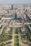 Aerial view from Eiffel Tower on Champ de Mars - Paris. Stock Photos
