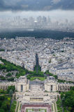Aerial view from Eiffel tower on famous Champs de Mars at Paris, France Royalty Free Stock Photo