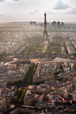 Aerial view of Eiffel tower and La. Paris with Eiffel tower in the late afternoon and La Defense district behind royalty free stock photos