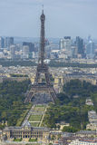 Aerial view of Eiffel Tower and La Defense business district tak Stock Photography