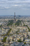 Aerial view of Eiffel Tower and La Defense business district tak Royalty Free Stock Photos
