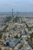 Aerial view of Eiffel Tower and La Defense business district tak Royalty Free Stock Photography