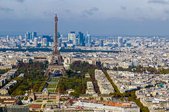 Aerial view with Eiffel tower and La Defense district in Paris Royalty Free Stock Photo