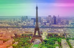 Aerial view of Eiffel Tower, landmark of Paris. France. abstract colors added for vintage effect Royalty Free Stock Photo