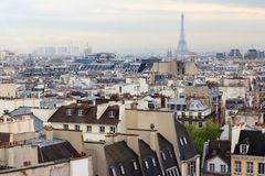 Aerial view of Eiffel tower on a rainy day over city line of Par royalty free stock photography