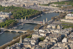 Aerial view from Eiffel Tower on Seine River - Paris. Royalty Free Stock Images