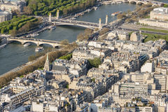 Aerial view from Eiffel Tower on Seine River - Paris. Royalty Free Stock Photography