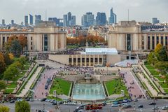Aerial view from Eiffel tower with Trocadero place in Paris, Fra Stock Photos