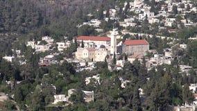 Aerial view of Ein Kerem village in Jerusalem, Israel stock video footage
