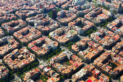 Aerial view  of    Eixample  district. Barcelona Stock Images