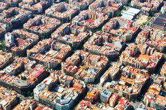 Aerial view of Eixample residential district. Barcelona royalty free stock images
