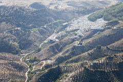 Aerial view of El Gastor in Andalusia. Royalty Free Stock Image