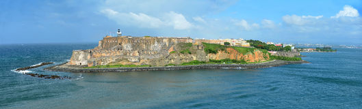 Aerial View of El Morro, San Juan Puerto Rico. Aerial view of Castillo San Felipe del Morro with lighthouse in San Juan, Puerto Rico - stitched from 4 images Royalty Free Stock Image