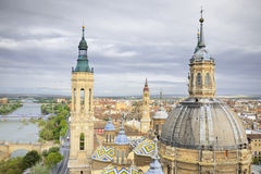 Aerial view of el Pilar cathedral Stock Photos