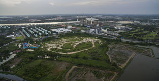 Aerial view of electric power genarator plant in thailand Stock Photo