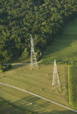 Aerial view of electric pylons Royalty Free Stock Photos