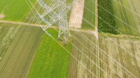 Aerial view of an electricity pylon stock footage