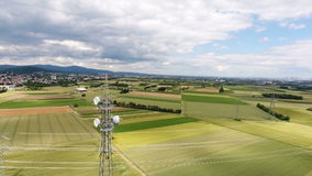 Aerial view of an electricity pylon stock video