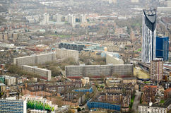 Aerial View, Elephant and Castle. View from a tall building of the Heygate Estate and Strata Tower in Elephant and Castle area of Southwark, London. the area is Royalty Free Stock Image