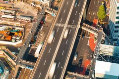 Aerial view of an elevated highway in Tokyo Stock Photo