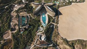 Aerial view of elite Mriya hotel. Swimming pool, fountain, amphitheater stock video