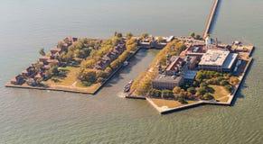 Aerial View of Ellis Island, New York. Stunning aerial view of Ellis Island, New York from a helicopter Royalty Free Stock Photo