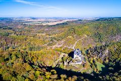 Aerial view of Eltz castle in Germany stock photos