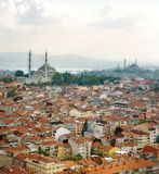 Aerial view of Eminonu and New Mosque. Royalty Free Stock Images
