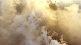 Aerial view. Emission to atmosphere from industrial pipes. Smokestack pipes shooted with drone. stock video footage