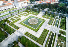 Aerial View of Empire Square and Jeronimos Monastery, Lisbon, Portugal Stock Photography