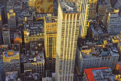 Aerial view from Empire State Building on Skyscrapers at sunset Stock Photos
