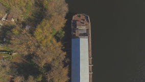 Aerial view of empty barge stock video footage