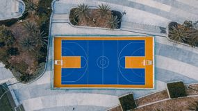Basketball court from top view Stock Image