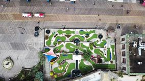 Aerial view of an empty mini golf course stock video