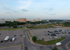 Aerial view on empty parking area Stock Images